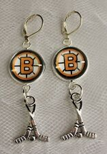 Boston Bruins Earrings with Hockey Charm made from Hockey Cards Handmade