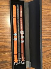 Southwestern Leather Bracelets With Sterling Silver Slide Charms