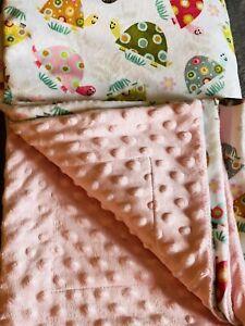 "Minky Baby Blanket / Turtles / Pink Soft Minky 30""x40"" Receiving Blanket 2 Layer"