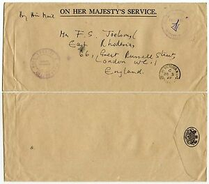 SEYCHELLES OFFICIAL PAID HANDSTAMP SIGNED on OHMS ENVELOPE 1965 to GB