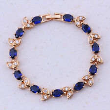 18ct Gold Dipped Blue Sapphire White Topaz Tennis Bracelet Leaf nature Branch