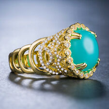 Luxury Round Cut Blue Opal 18 K Gold Plated Women Wedding Cocktail Party Ring