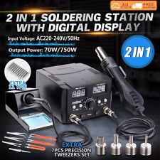 Soldering Iron Hot Air Gun Desoldering Soldering 2 in 1 Rework Digital Station