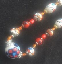 Boho Folk Gypsy Ceramic Beaded Summer Necklace - Free Post