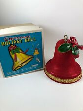 Vintage 1950s Red Flock Musical Bell Pull Cord Christmas Jingle Bells Holiday