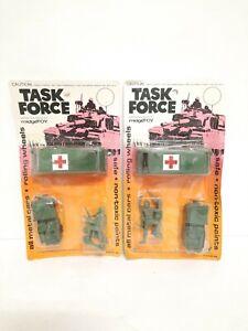 2x Vintage 1974 Midgetoy Task Force Military Jeep Ambulance Soldiers Metal NISP