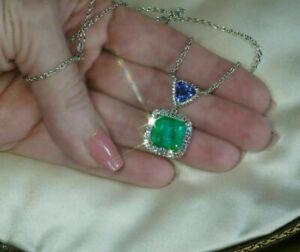 18K White Gold Over 3ct Green Emerald & Blue Tanzanite Necklace Huge Pendant
