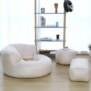 New Leather Bean Bag Sofa Set Cover Chair Recliner Footrest Stool Floor Seat