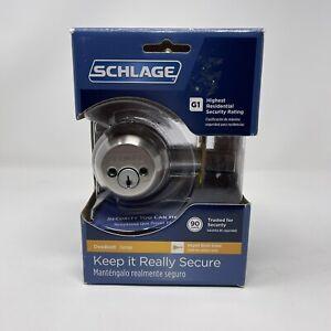 NEW Schlage Double Cylinder Deadbolt Satin Nickel Keyed both sides  B62N-V 619