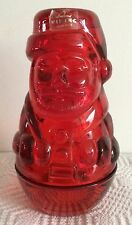 RARE VIKING ART GLASS SANTA CLAUS FAIRY LAMP GLIMMER LIGHT (RED)