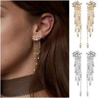 Fashion Women's Crystal Star Long Tassel Drop Dangle Stud Earrings Jewelry Gift