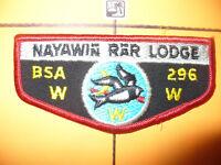 OA Nayawin Rar Lodge 296,F-1b,1984,TLR, 1st Twill Flap,TRQ, Tuscarora Council,NC