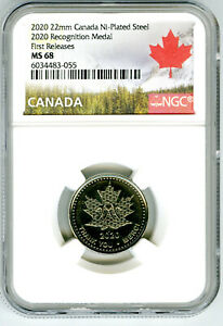 2020 22mm CANADA RECOGNITION MEDAL NGC MS68 FIRST RELEASES MAPLE LEAF OGP&MAGNET