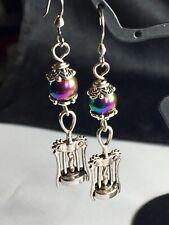 Cute Dangle Bottle Opener Earrings With Rainbow Hematite Beads