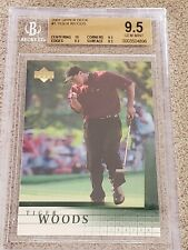 2001 Upper Deck Tiger Woods #1 Rookie BGS 9.5 3 x 9.5 10 Centering Subs on Front