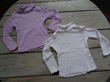 Lot 2 T-shirts col roulé manches longues blanc et parme uni NKY Taille 4 ans