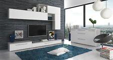 Parete attrezzata mobile porta TV sala da pranzo soggiorno bianco lucido grigio