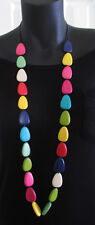 Long strand Bright Multi colour Necklace - Wooden beads Rainbow colours, Fashion