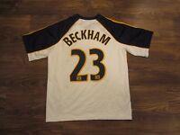 MLS Los Angeles Galaxy David Beckham Boys Jersey, Adidas Clima365, Size L, EUC