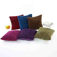 Plush Solid Pillow Case Cover Sofa Bed Waist Throw Square Cushion Home Car Decor