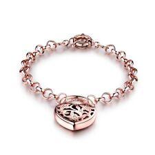 Retro Vintage Rose Gold Filled Belcher Padlock Bracelets Chain Gift For Women