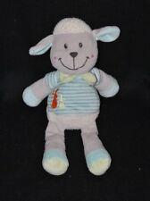 Peluche doudou mouton NICOTOY gris bleu lapins brodés foulard vert 28 cm TTBE