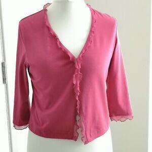 East Cardigan Bolero Shrug Pink Size L Chiffon Frill 3/4 Sleeves Hook Eye Fasten