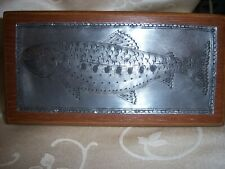 Hand made HARD WOOD trinket box with hand hammered FISH Rainbow trout SALMON