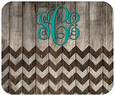 MOUSE PAD CUSTOM PERSONALIZED THICK MOUSEPAD- WOOD LOOK WITH CHEVRONS-MONOGRAM