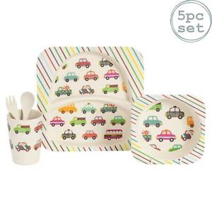 Childrens Dinner Set, Patterned Bamboo Plate, Bowl, Cup, Fork & Spoon - Cars