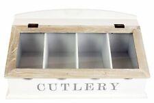 Shabby Chic Wooden Two Tone Cutlery Storage Box Worktop Holder
