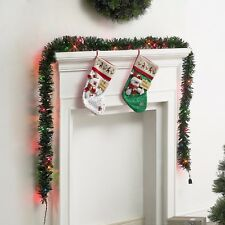 New ! Holiday Time Pre-Lit Pine Garland, Multicolor, Easy Installation