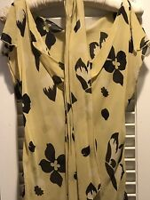 Betsey Johnson New York Yellow And Black Top Blouse with Belt and Cami Size 6