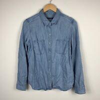 Sportscraft Womens Button Up Shirt Size 10 Denim Style Chambray Long Sleeve