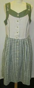 Damen Trachten Kleid olivgrün/beige Rock kariert Gr. 40 von Folk Line
