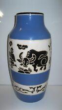 Vintage Ceramic Vase Asian Design Water Buffalo/Buckets Blue/White