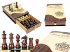 """Galaxy Staunton Rose wood Chess Pieces King Size 3"""" with Rosewood Heirloom Box"""