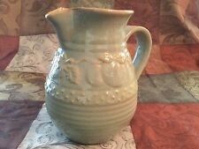 Pale Green Pottery Pitcher With Tan Embossed Fruit & Leaves, Dots & Lines 7""