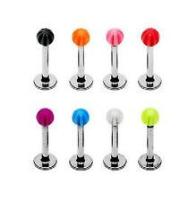 Set of 8 - Tragus Monroe Lip Studs ( 8mm x 1.2mm STEEL Bar) with 3mm Stripe Ball