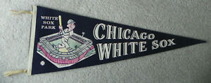 Vintage 1950-60s Chicago White Sox Park Illinois MLB Baseball Pennant 30""