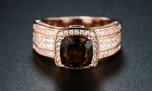 Smokey Topaz Engagement Ring in 18K Rose Gold Plating By Gembassy Size: 9