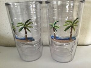 SET 2 TERVIS TUMBLERS 16 OZ INSULATED GLASSES Embroider Patch PALM AMACA BEACH