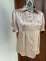 WITCHERY Sz 8 Pure Silk Tan Work Top Button Up Blouse AU 6 8 Pleated Puff Sleeve