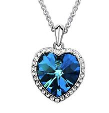 Titanic Heart Shaped Blue Crystal Pendant Silver plated Necklace Bijoux Fashion