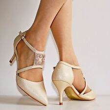 NEW Ladies Ankle Strap Party Prom Evening Low Mid Heel Court Shoes Size 24-401