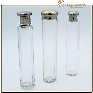 Set di tre boccette vintage porta profumo vetro e silver plate ampolle toilette