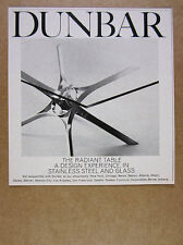 1966 Dunbar Furniture The Radiant Table glass stainless steel vintage print Ad