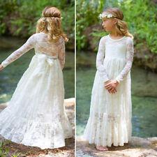 Flower Girl Dress Kid Elegant Lace Dress Wedding Party Birthday Long Dress 2-11T