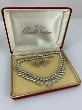 Vintage DONALD SIMPSON Rhinestone Crystal Necklace & Earrings Set JewelCrest