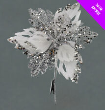 3 Silver Christmas Poinsettia Picks Decoration Tree Clips Wreath Decoration 30cm